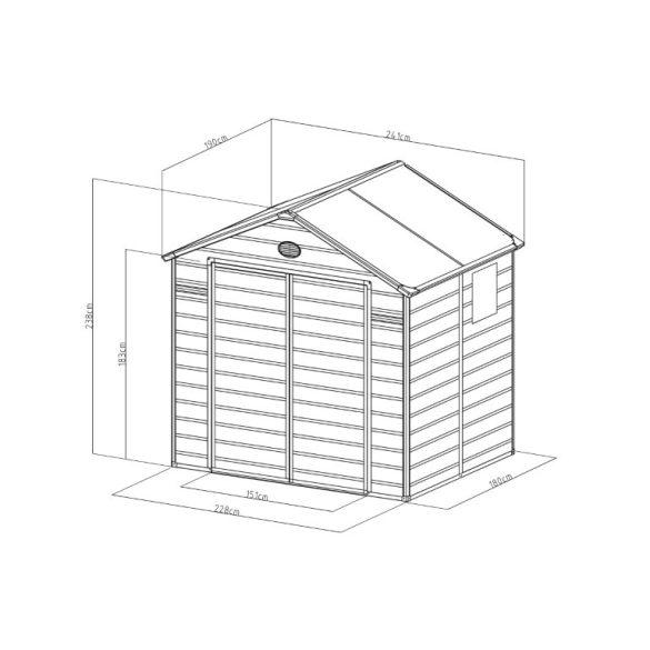Kerti tároló ház kb. 2,4 X 2 méter alapterület, polikarbonát, szürke, G21
