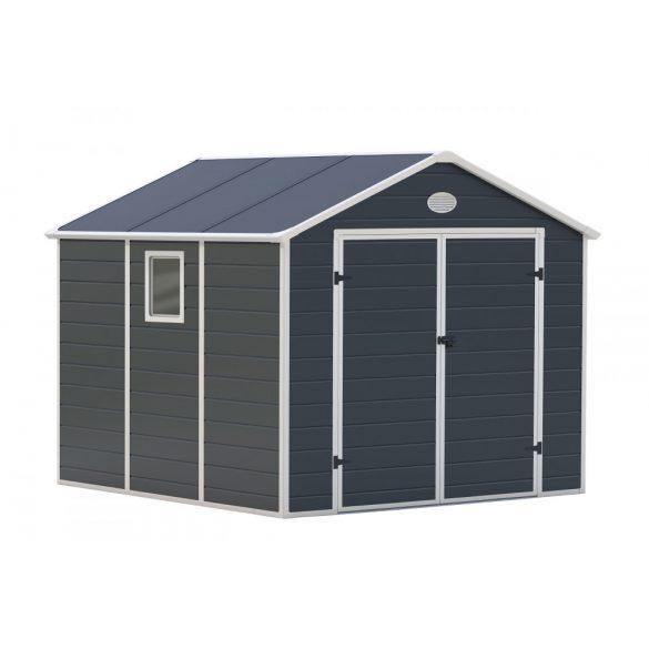 Kerti tároló ház kb. 2,7 X 2,3 méter alapterület, polikarbonát, szürke, G21