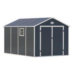 Kerti tároló ház kb. 3,6 X 2,3 méter alapterület, polikarbonát, szürke, G21