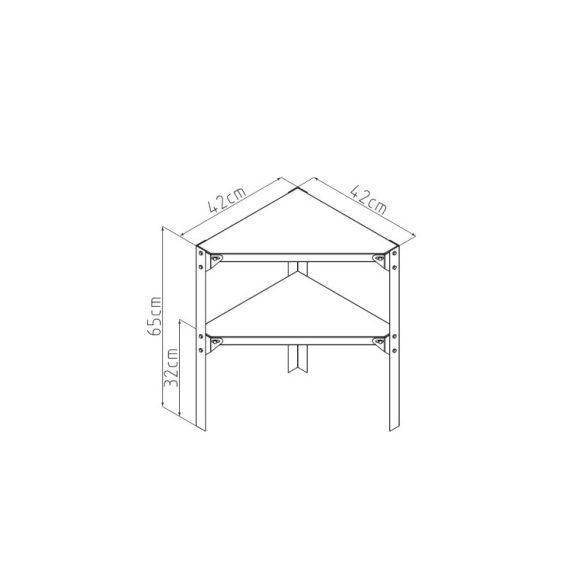 G21 Sarok fémpolc 42x42 cm , kerti házakba és üvegházakba