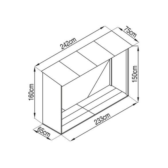 Tüzifa tároló 2,3m3, 242 x 75 cm, szürke, Penta G21