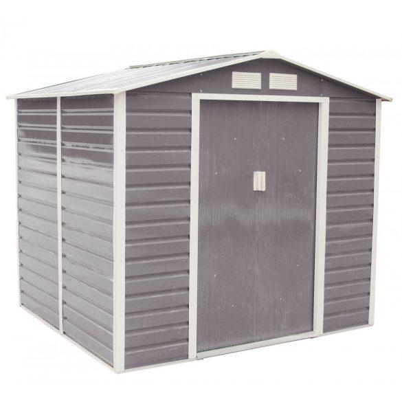 Kerti tároló ház kb. 2 X 2 méter alapterület, fém, szürke, G21