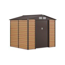 Kerti tároló ház kb. 2 X 2 méter alapterület, fém, barna, G21