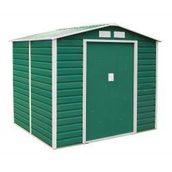 Kerti tároló ház kb. 2 X 2 méter alapterület, fém, zöld, G21