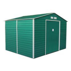 Kerti tároló ház kb. 2 X 2,5 méter alapterület, fém, zöld, G21