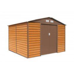 Kerti tároló ház kb. 2,7 X 2,5 méter alapterület, fém, barna, G21