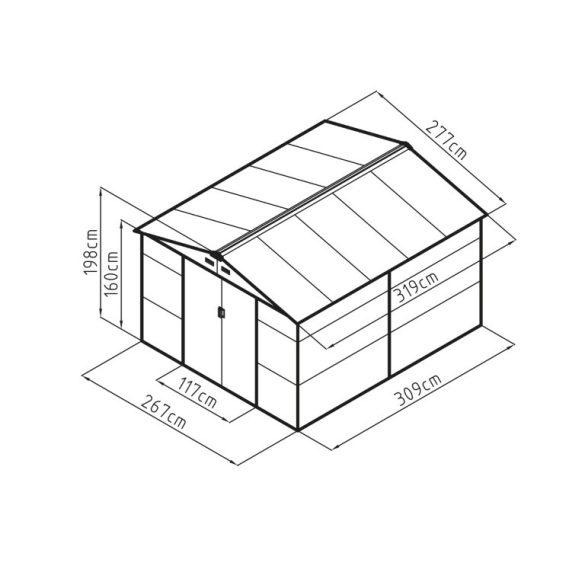 Kerti tároló ház kb. 3,1 X 2,7 méter alapterület, fém, barna, G21