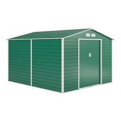 Kerti tároló ház kb. 3,1 X 2,7 méter alapterület, fém, zöld, G21