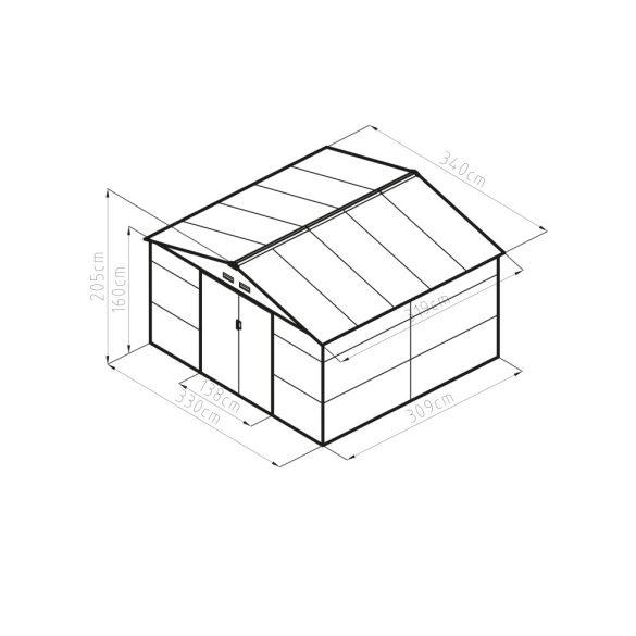 Kerti tároló ház kb. 3,3 X 3,1 méter alapterület, fém, szürke, G21