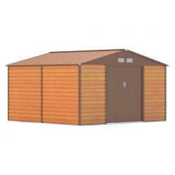 Kerti tároló ház kb. 3,3 X 3,1 méter alapterület, fém, barna, G21