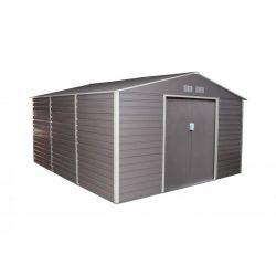 Kerti tároló ház kb. 3,8 X 3,3 méter alapterület, fém, szürke, G21