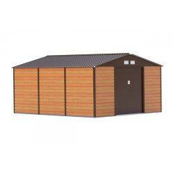 Kerti tároló ház kb. 3,8 X 3,3 méter alapterület, fém, barna, G21