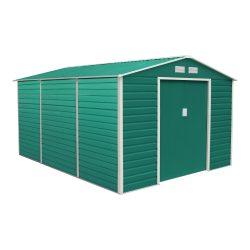 Kerti tároló ház kb. 3,8 X 3,3 méter alapterület, fém, zöld, G21
