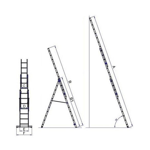 G21 Alumínium létra 3 db-os 5,9 méter 3x9 fok