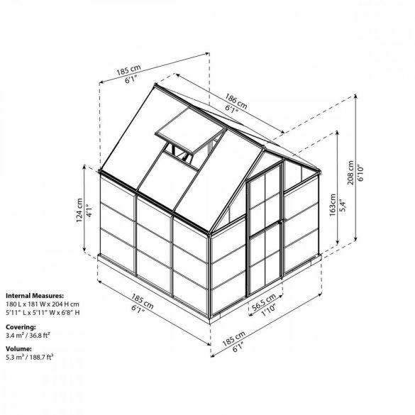 Palram hybrid 6x6 polikarbonát üvegház
