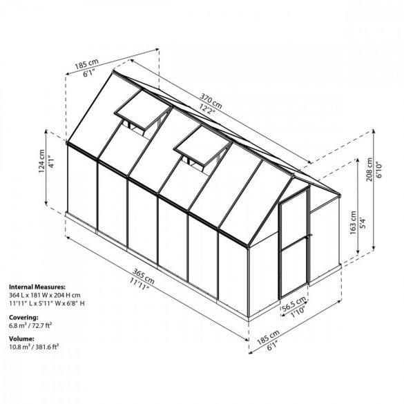 Palram multiline 6x12 polikarbonát üvegház
