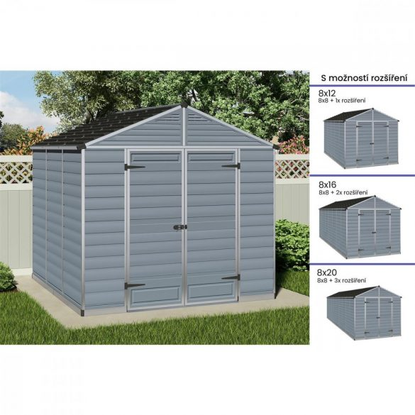 Kerti tároló ház 2,3 X 2,3 méter alapterület, polikarbonát, szürke, PALRAM Skylight 8X8