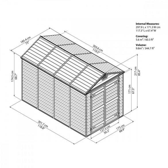 Kerti tároló ház 3 X 1,85 méter alapterület, polikarbonát, barna, PALRAM Skylight 6X10