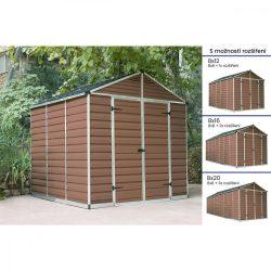 Kerti tároló ház 2,3 X 2,3 méter alapterület, polikarbonát, barna, PALRAM Skylight 8X8