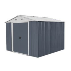 Kerti szerszámtároló ház kb. 3 x 3 méter alapterület, fém, szürke, HECHT 10X10PLUS