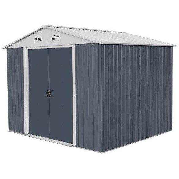 Kerti szerszámtároló ház kb. 2 X 2,5 méter alapterület, fém, szürke, HECHT6X8