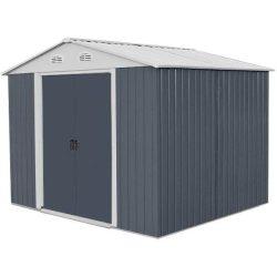 Kerti szerszámtároló ház kb. 2,5 x 2,5 méter alapterület, fém, szürke, HECHT 8X8PLUS