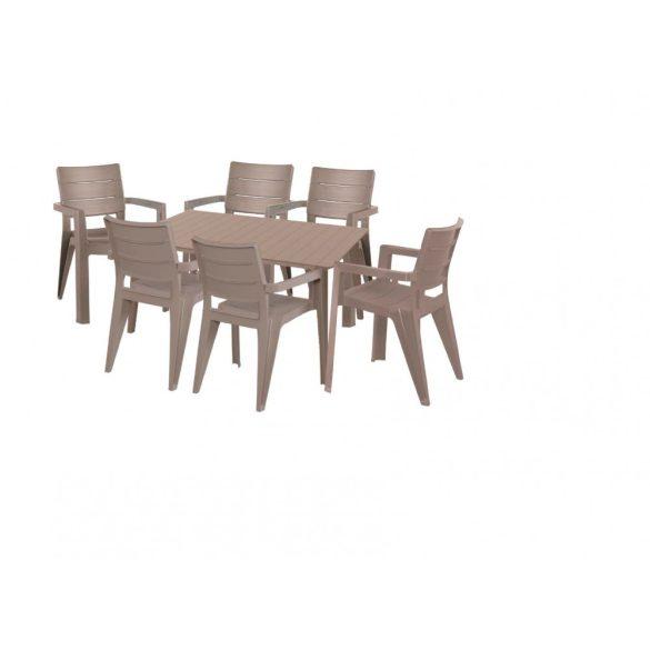 hecht műanyag uv álló kerti bútor szett, 6 szék 1 asztal beige szín kert és hobbi