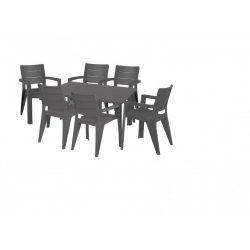 hecht műanyag uv álló kerti bútor szett, 6 szék 1 asztal grafit szürke szín kert és hobbi