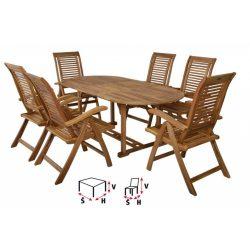 hecht kemény akácfa kerti bútor szett, 6 szék 1 asztal luxus minőség kert és hobbi HECHTCAMBERETSET