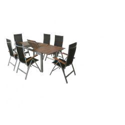 hecht kemény akácfa + alu kerti paktikus bútor szett, 6 szék 1 asztal  kert és hobbi HECHTMONTANA