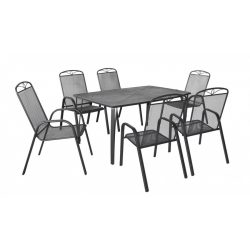 hecht porszórt fém kerti bútor szett, 6 szék, 1 asztal  kert és hobbi HECHTNAVASSASET6