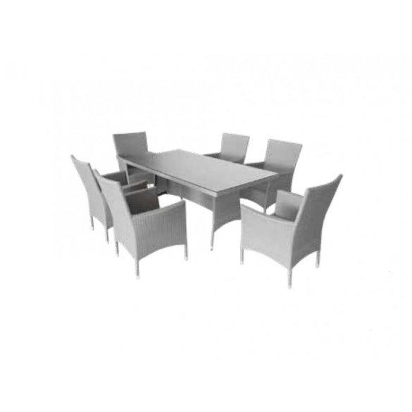 hecht műrattan kerti bútor szett, 6 szék 1 asztal, fehér, luxus minőség párnákkal kert és hobbi