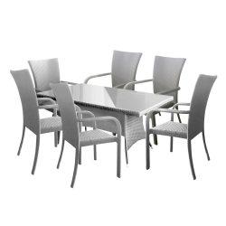 hecht műrattan kerti bútor szett, 6 szék 1 asztal, fehér kert és hobbi HECHTRATTANSET6