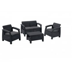 hecht műrattan kerti bútor szett, 1 szófa, 2 fotel 1 asztal, luxus minőség párnákkal kert és hobbi