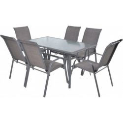 hecht felületkezelt fém kerti bútor szett, 6 szék 1 asztal üveglappal kert és hobbi SOFIA_SET6